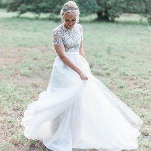 Bhldn wedding dress with overskirt